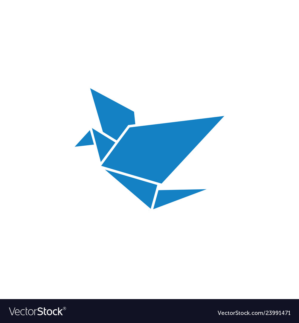 Blue bird poly icon design template isolated