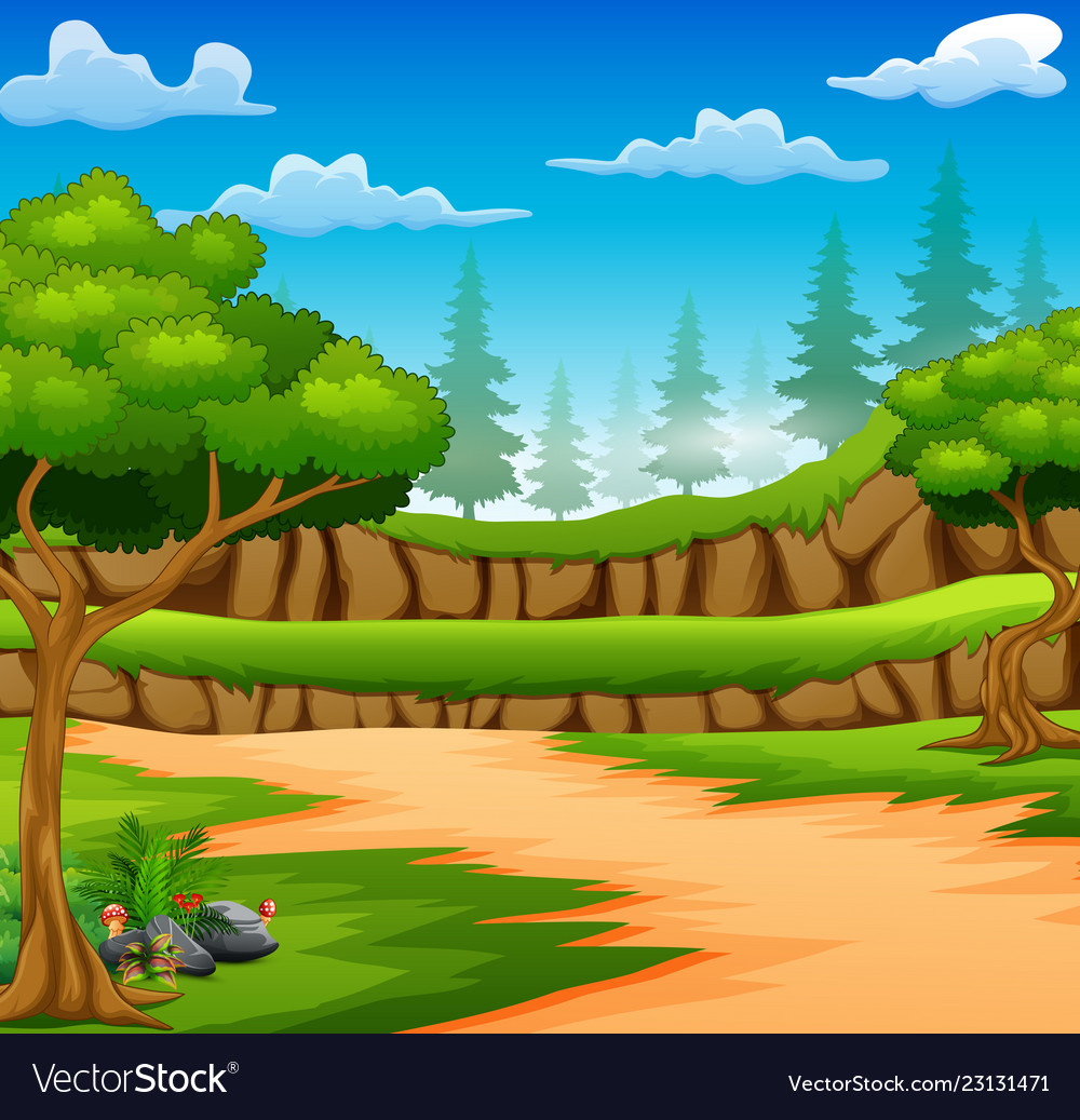 Cartoon Forest Background With Dirt Road Vector Image