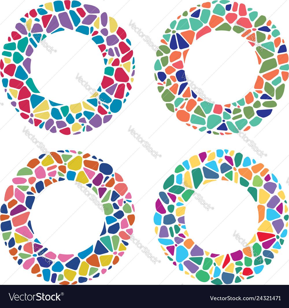 Colorful mosaic round patterns