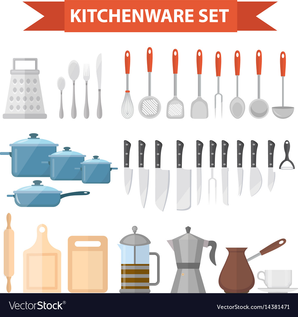 73d4f8521d Cookware set icons flat style kitchen utensils Vector Image