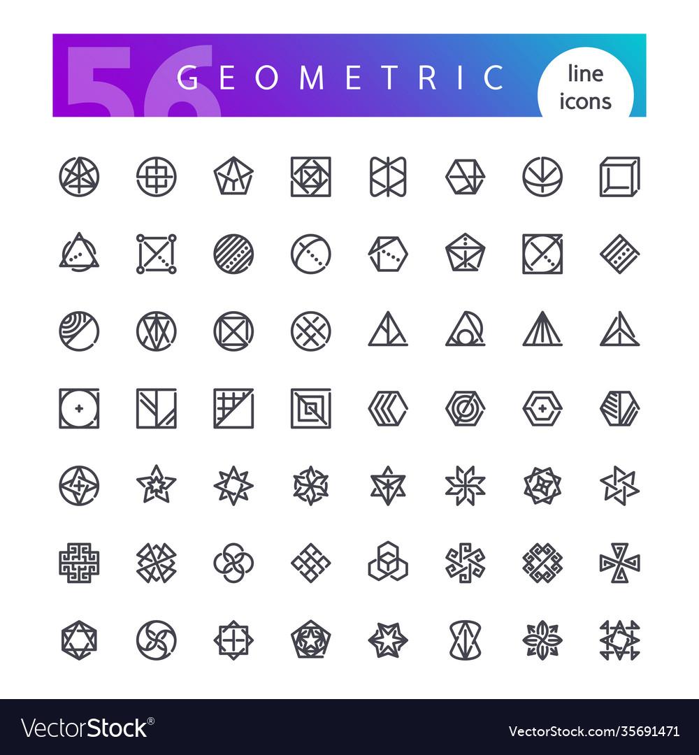 Geometric symbols line icons set