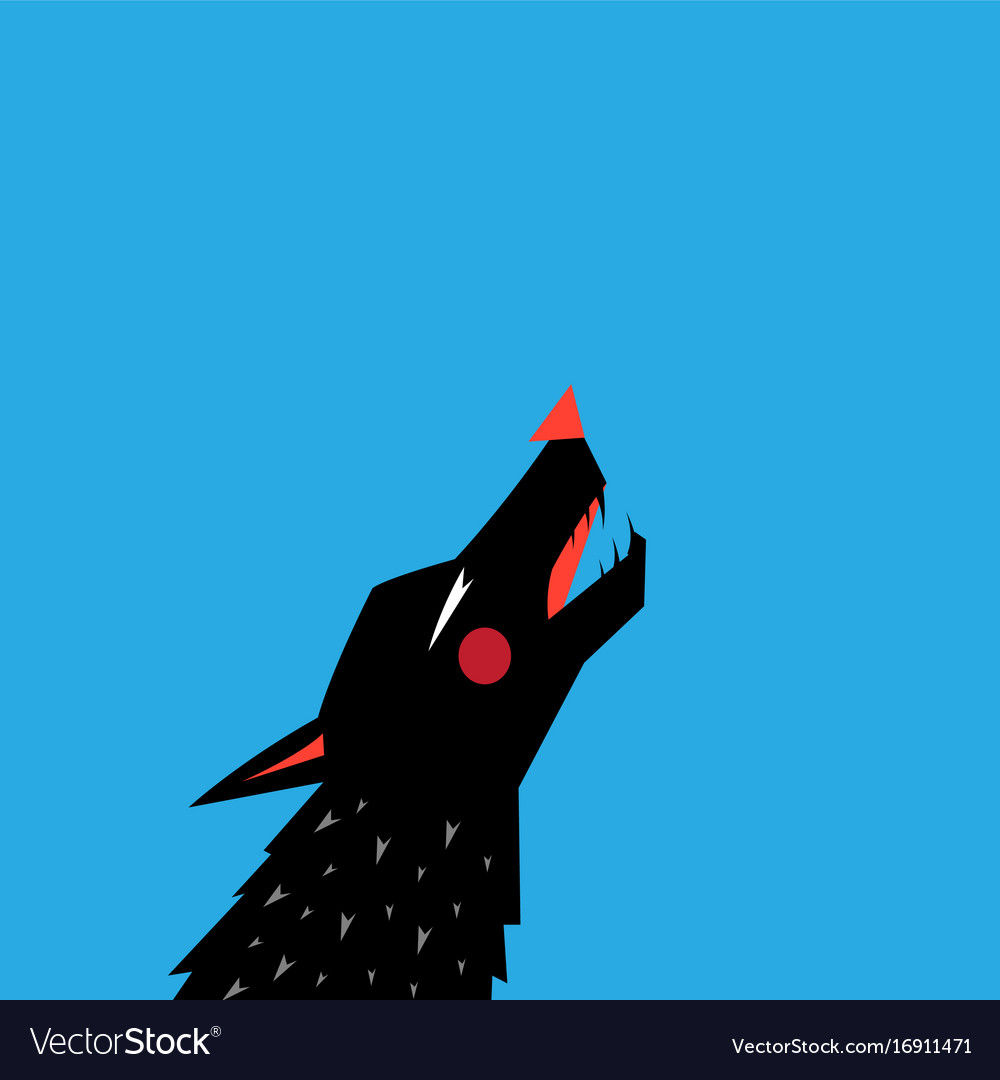 Graphic with silhouette portrait of a black wolf