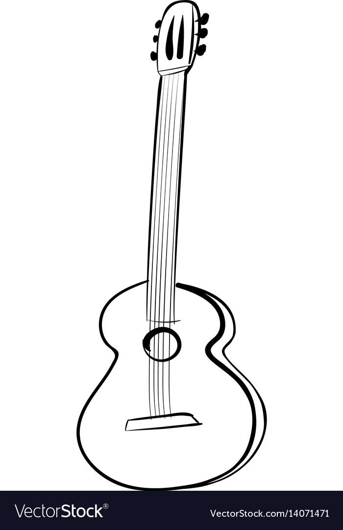Guitar acoustics icon black and white