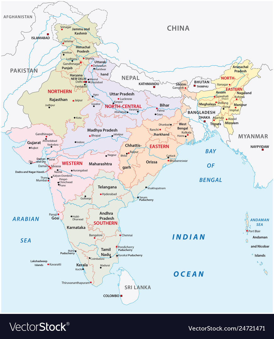 India administrative and political zones map