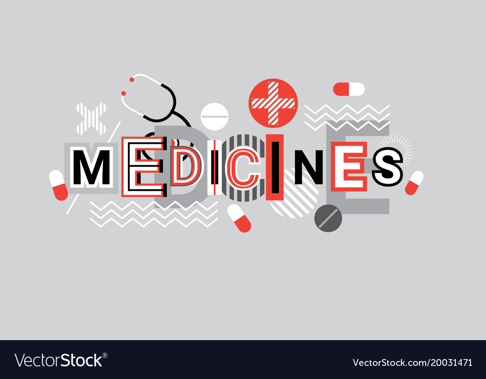 Medicines health care creative word over abstract