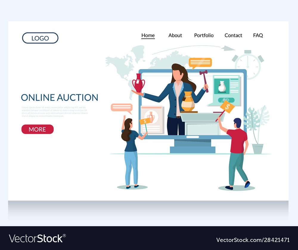 Online Auction Website Landing Page Design Vector Image