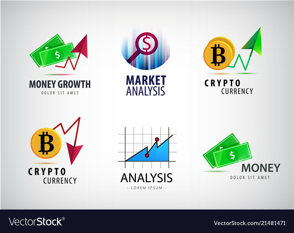 Set of financial crypto currency logos