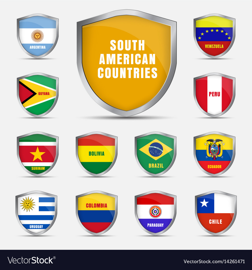 Set shields with flags of the south american