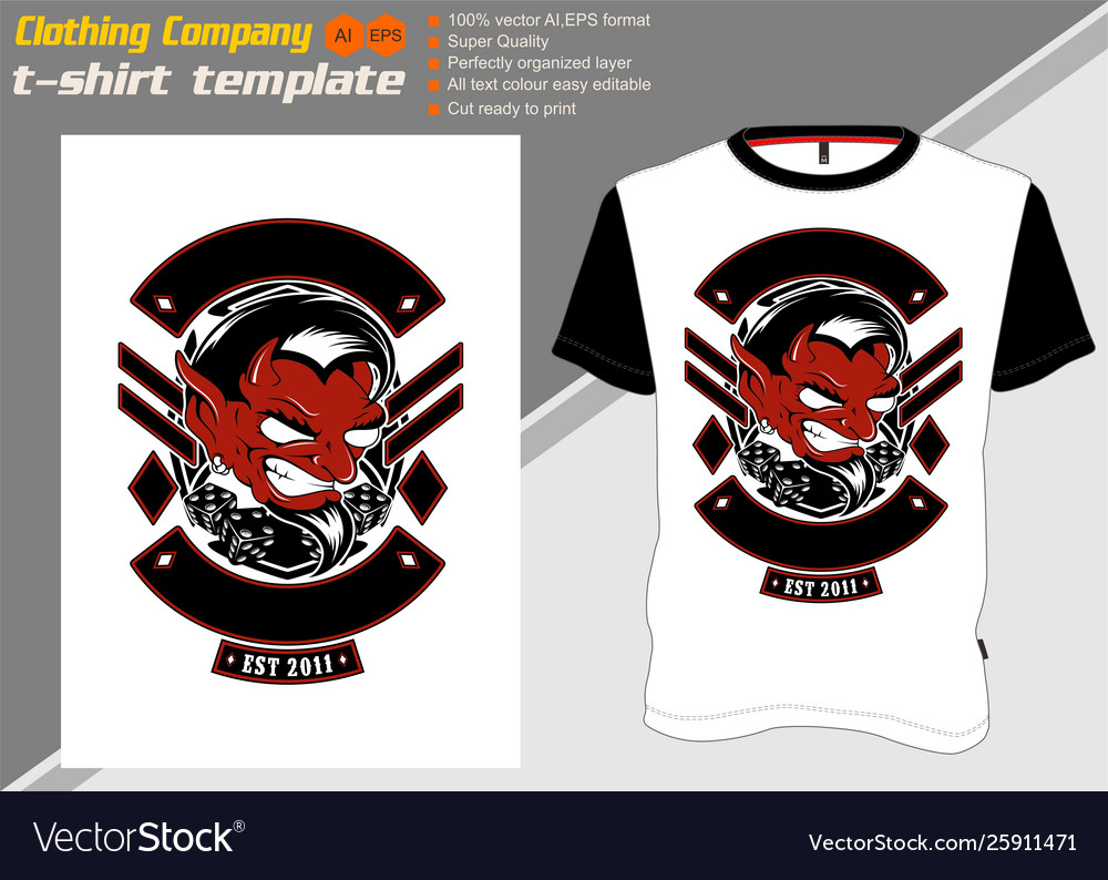 T shirt template with luciferhand drawing