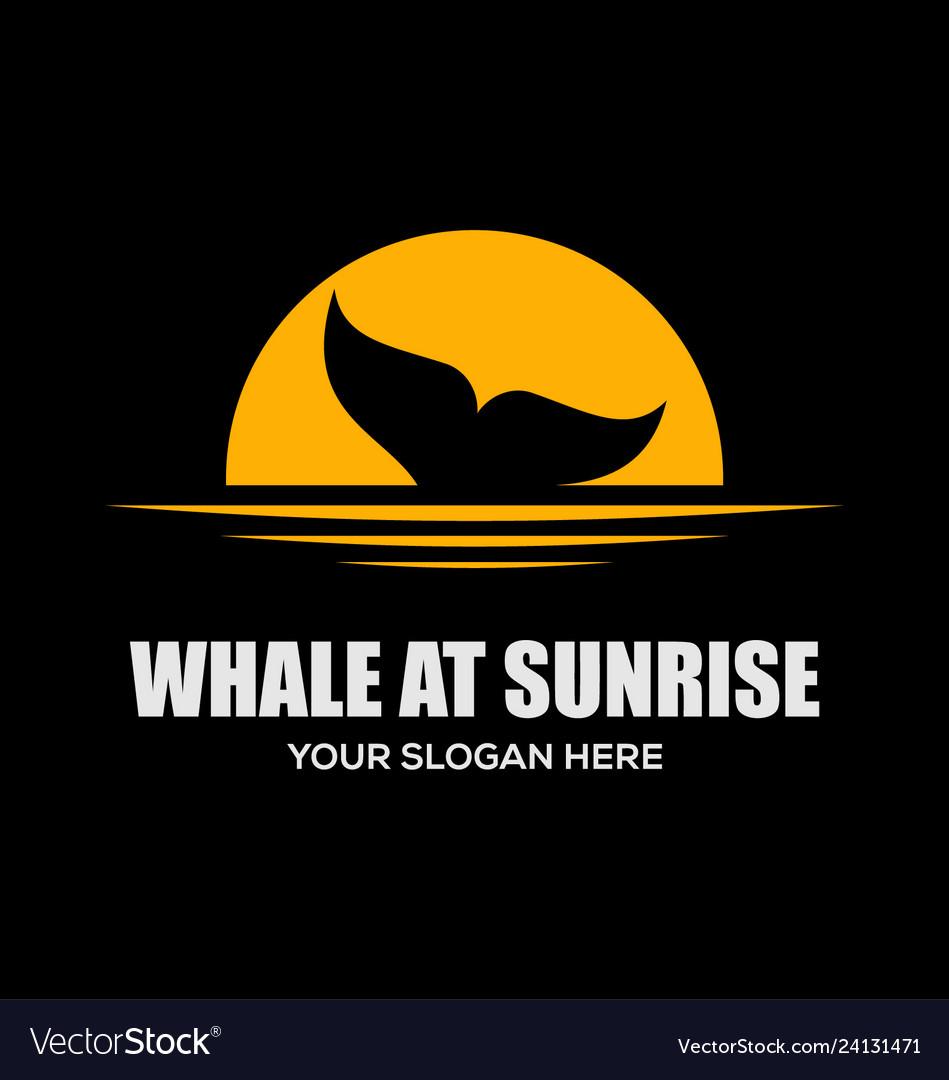 Whale at sunrise logo design