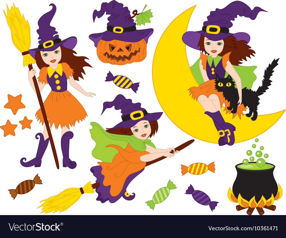 witches - halloween set royalty free vector image