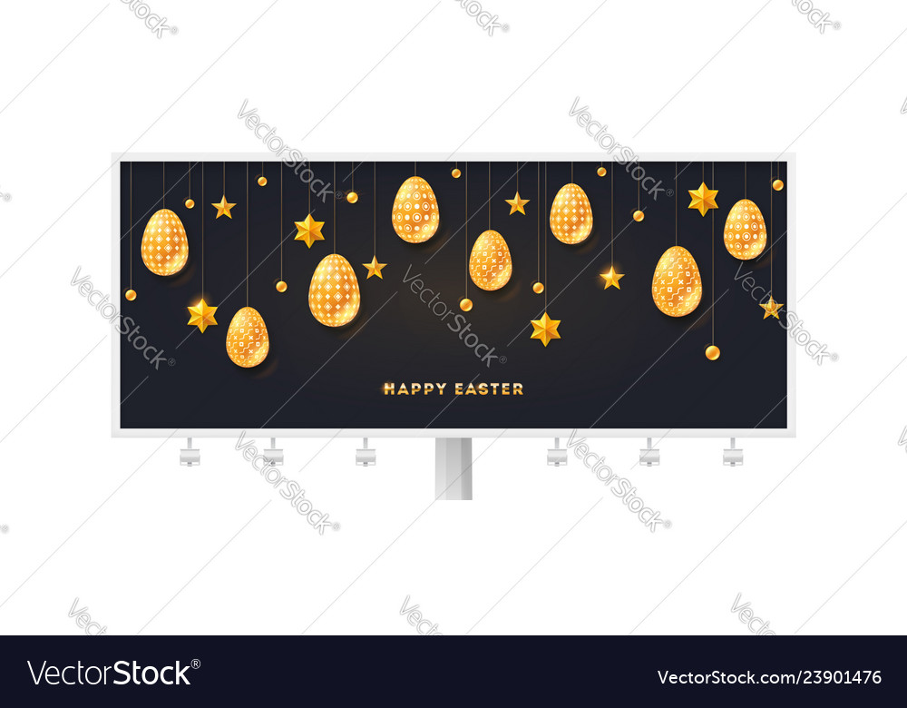 Billboard with greeting for happy easter golden