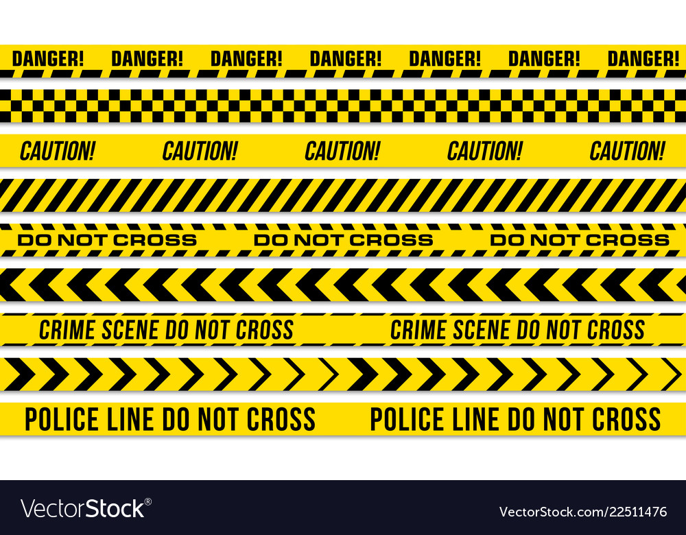 Black and yellow stripes police tape