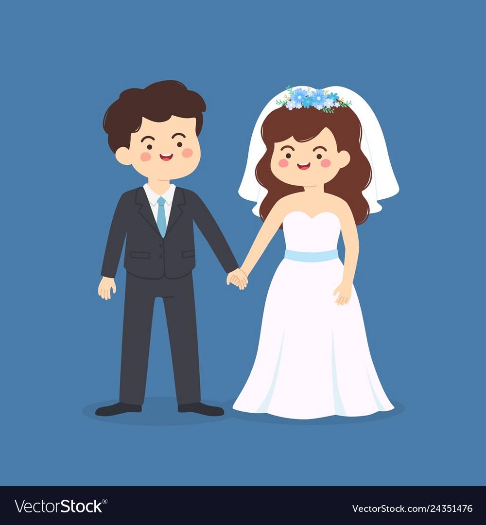 Cute bride and groom wedding couple invitation