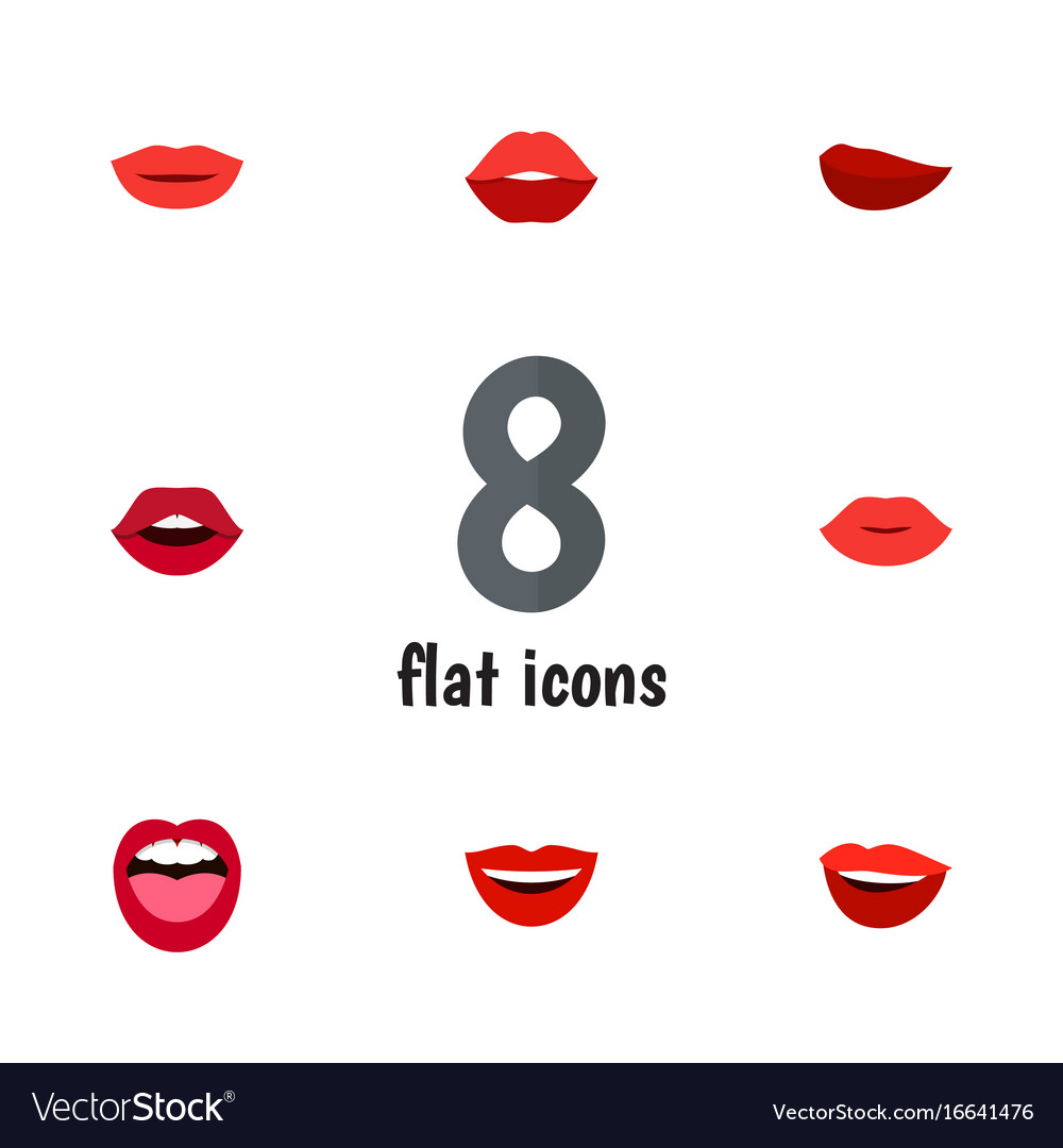 Flat icon lips set of lipstick teeth smile and vector image