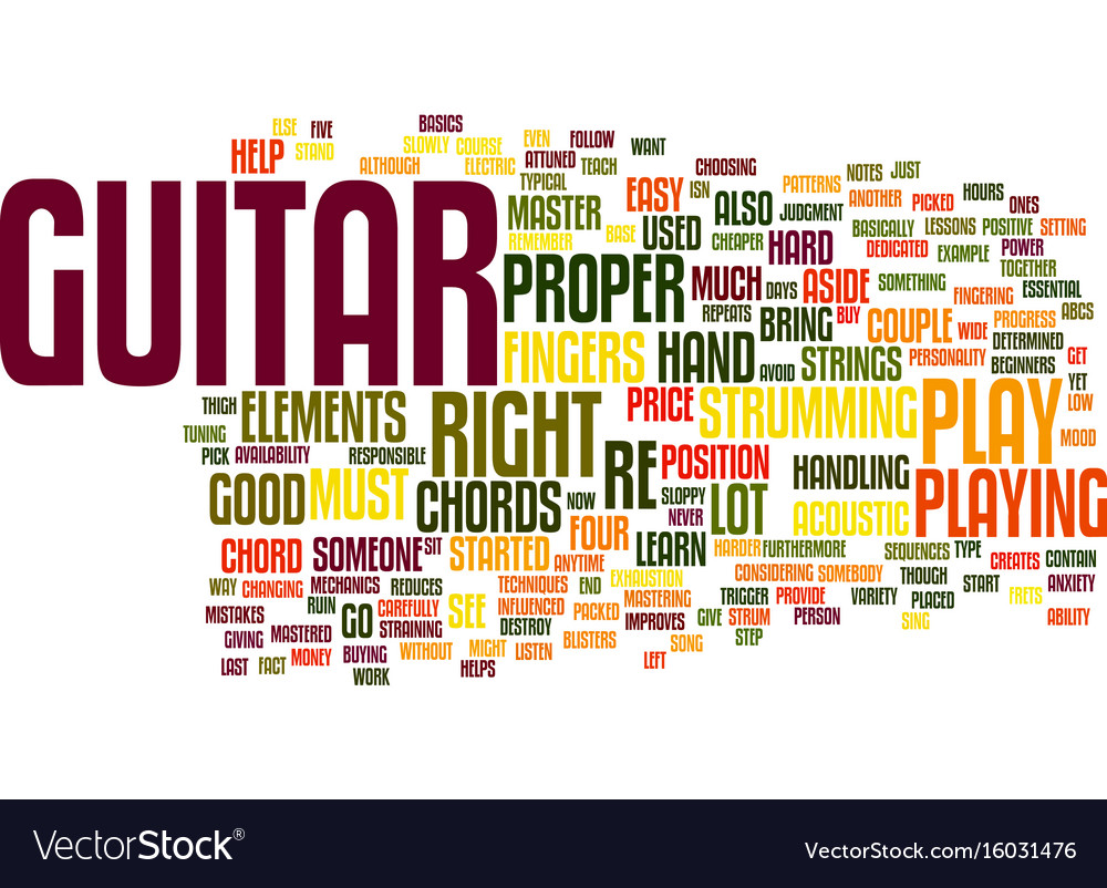 Learn and master guitar text background word