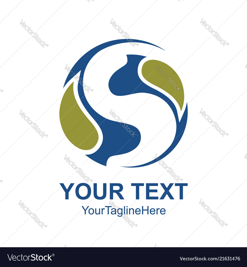 Letter s logo design template colored blue circle