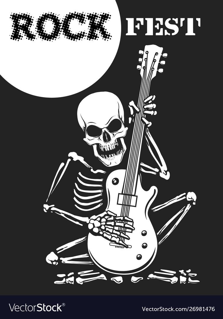 Skeleton plays guitar rock festival poster