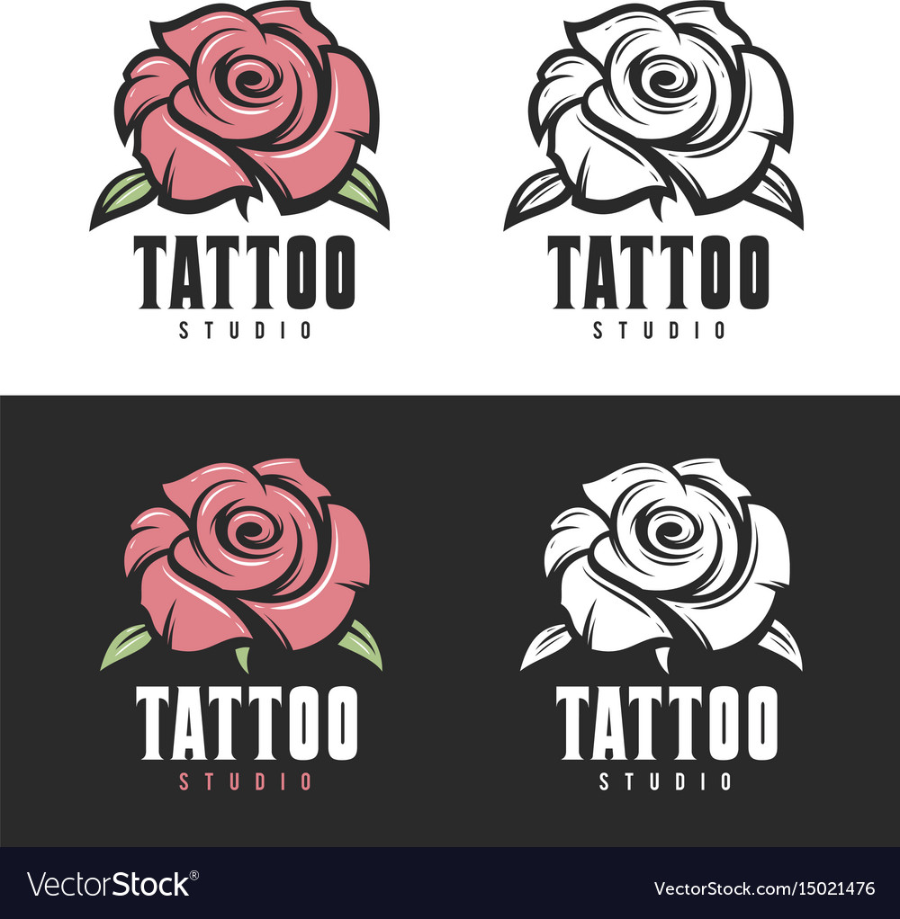 Tattoo studio rose emblem vintage