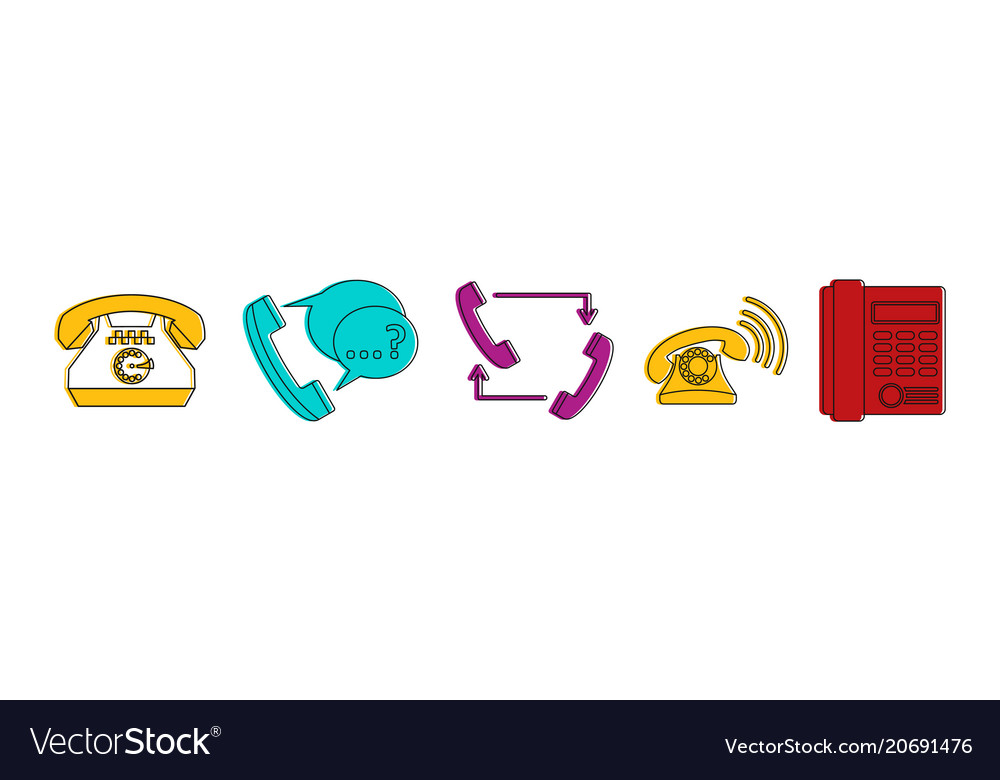 Telephone icon set color outline style