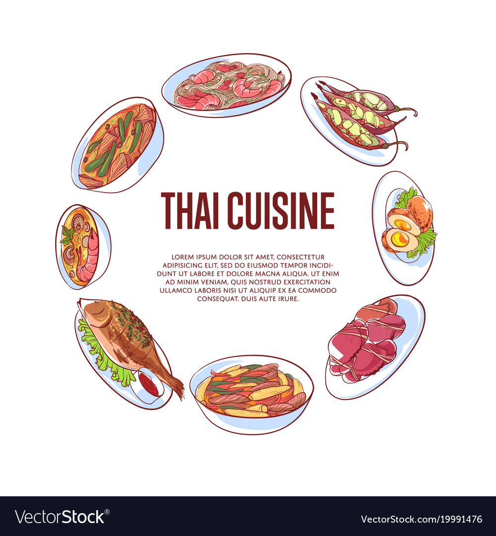 Thai cuisine poster with asian dishes