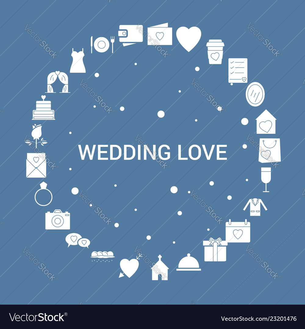 Wedding Love Icon Set Infographic Template Vector Image