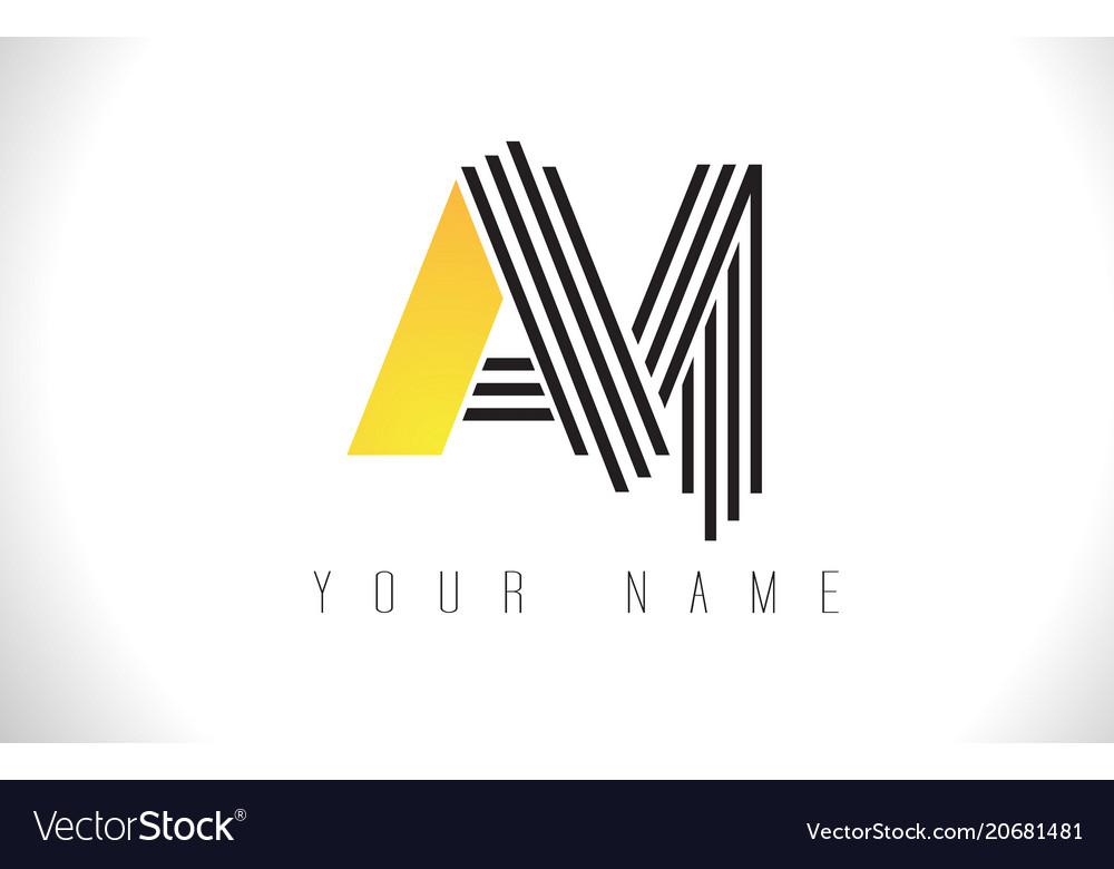 Am black lines letter logo creative line letters