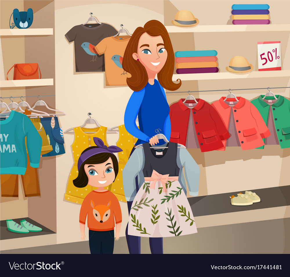 141f7f66886 Childrens clothing store Royalty Free Vector Image