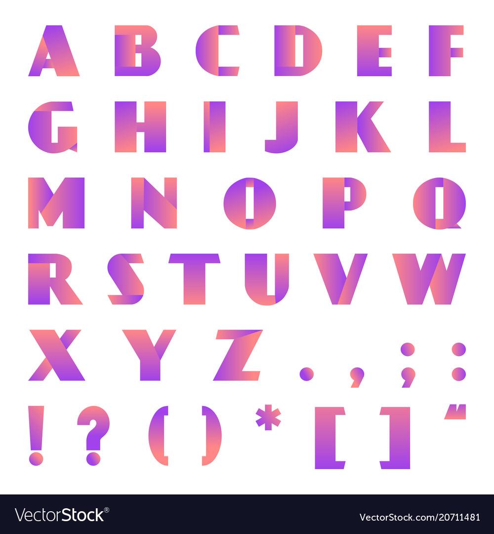 Creative modern bright gradient font