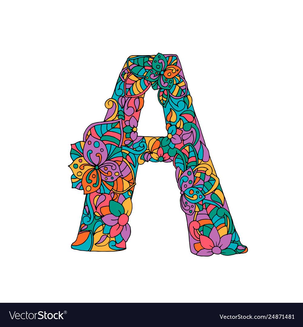 Floral a letter color