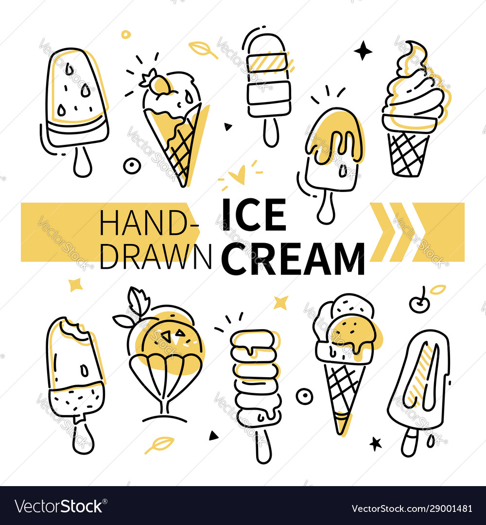 Hand-drawn ice cream collection - set