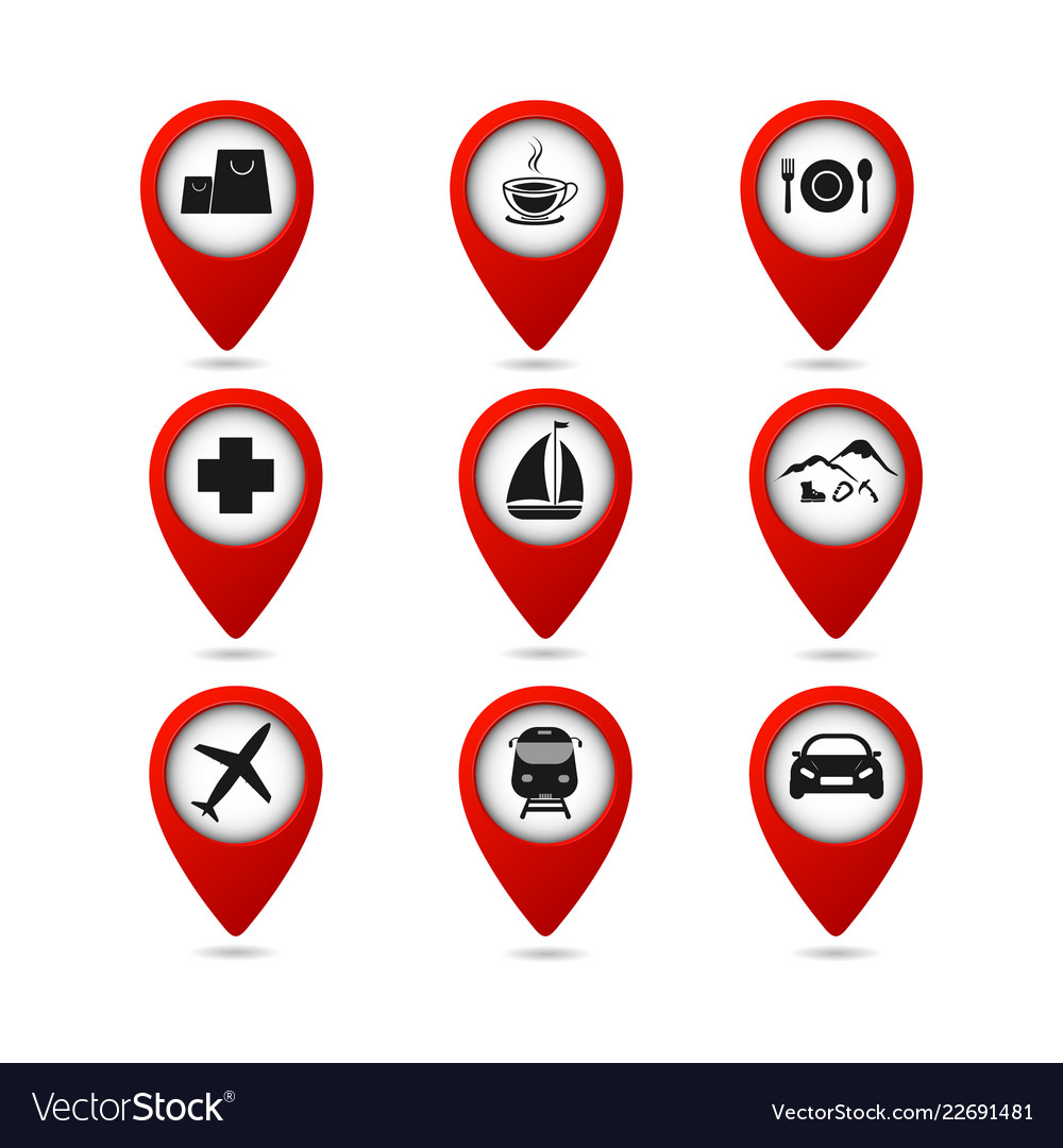 Map pointers with travel icons