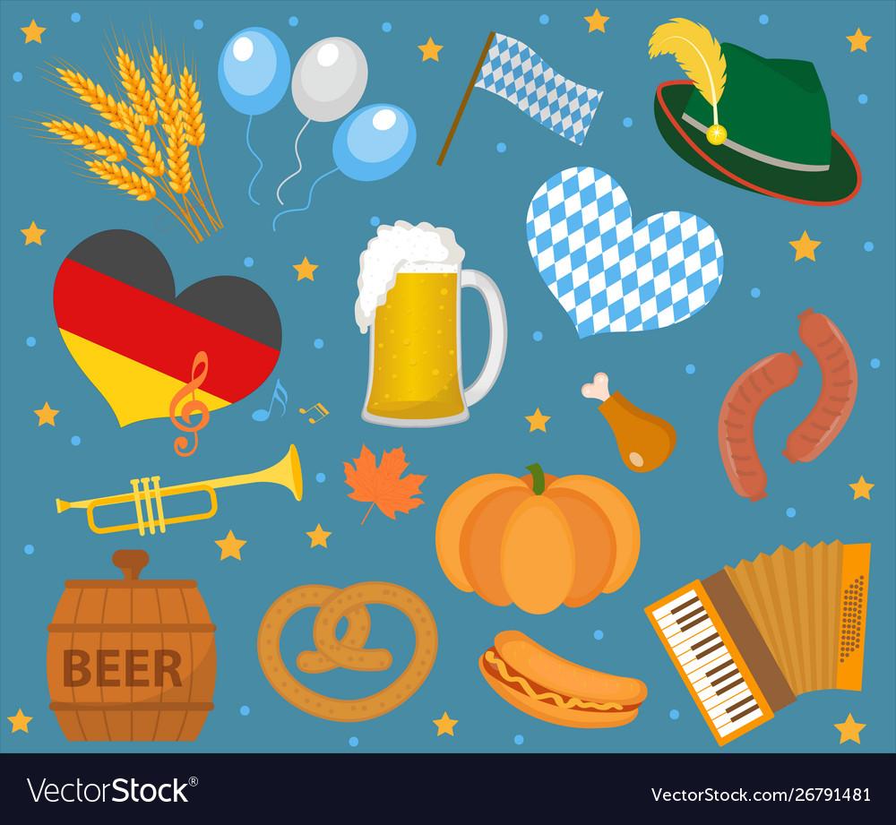 Oktoberfest icon set flat or cartoon style