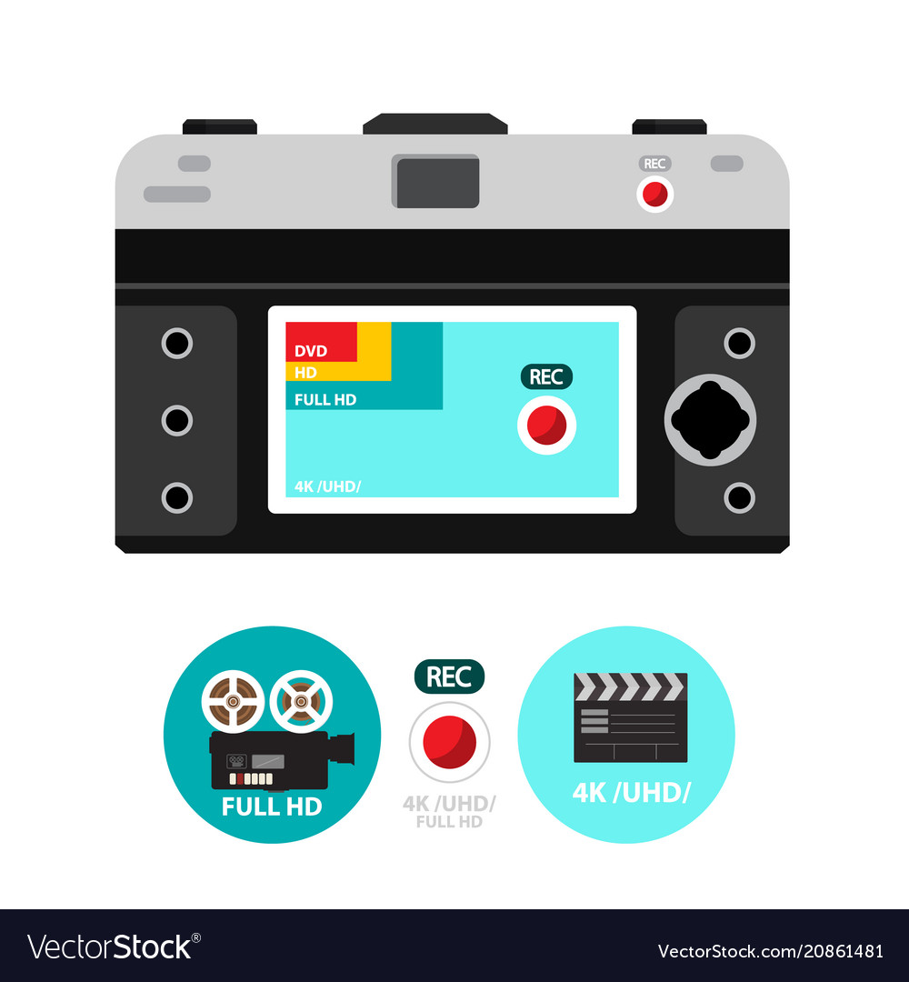 Retro film camera back with 4k - hd and dvd icons