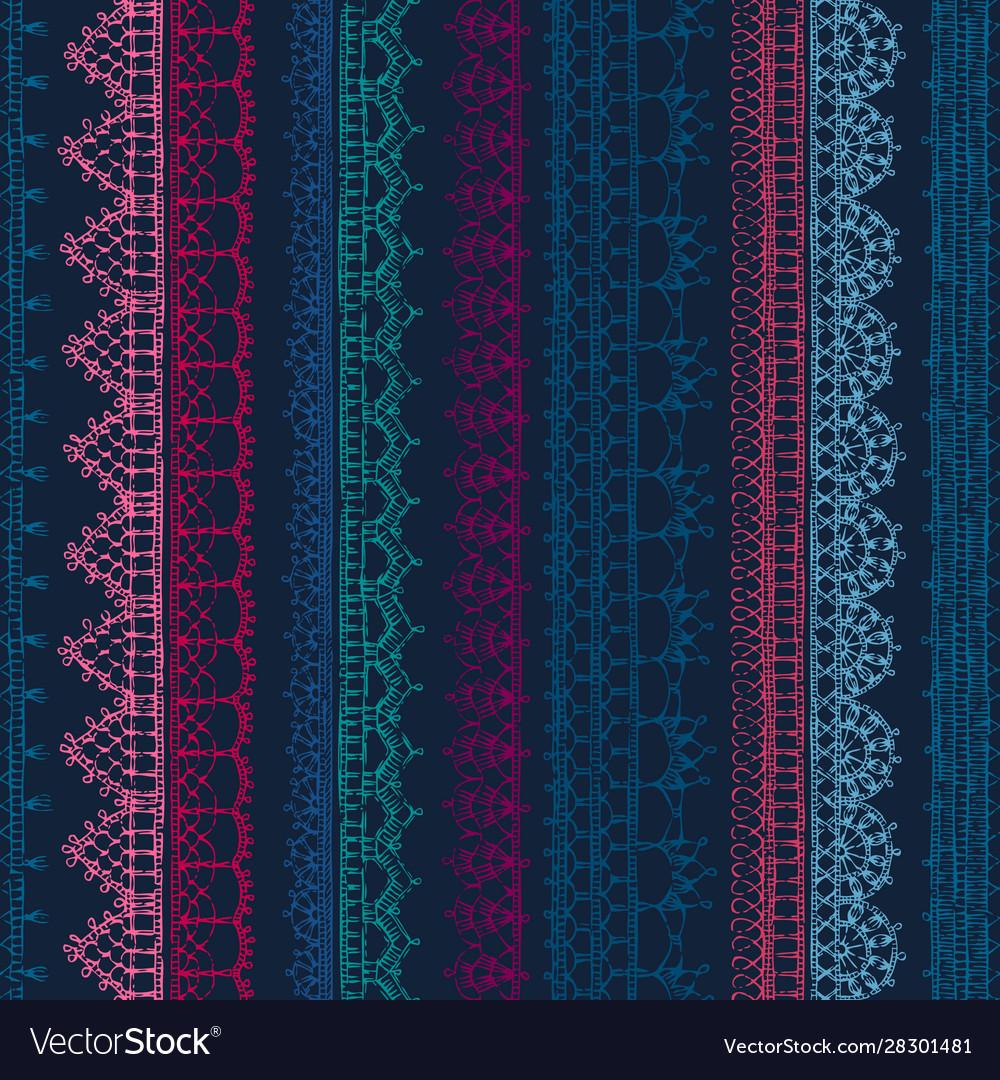 Seamless pattern crochet lacy edges on dark
