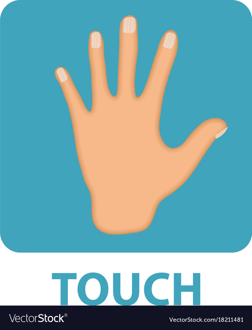 Sense of touch icon flat style hand isolated on