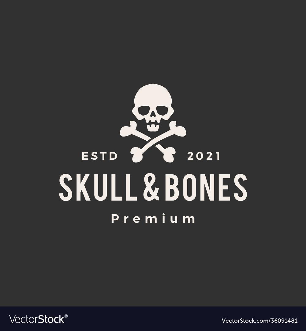 Skull and bones hipster vintage logo icon
