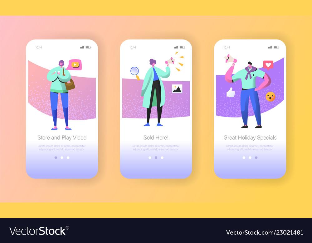 Social marketing onboarding mobile app screens