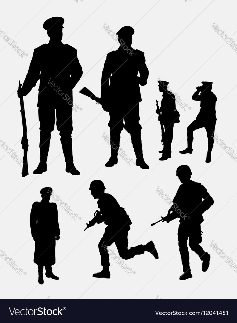 Soldier army and police silhouette 3
