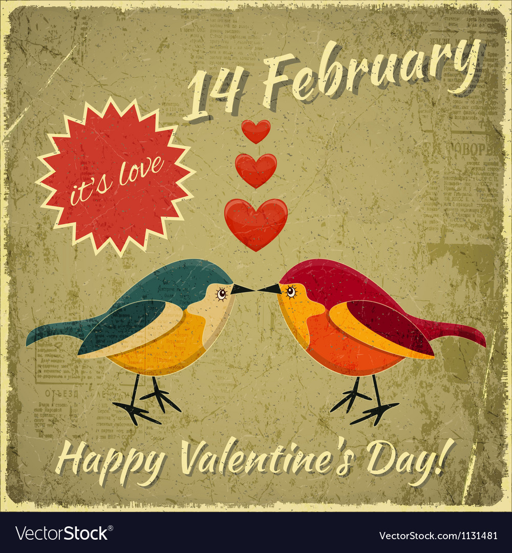 Vintage Valentines Day Card Royalty Free Vector Image