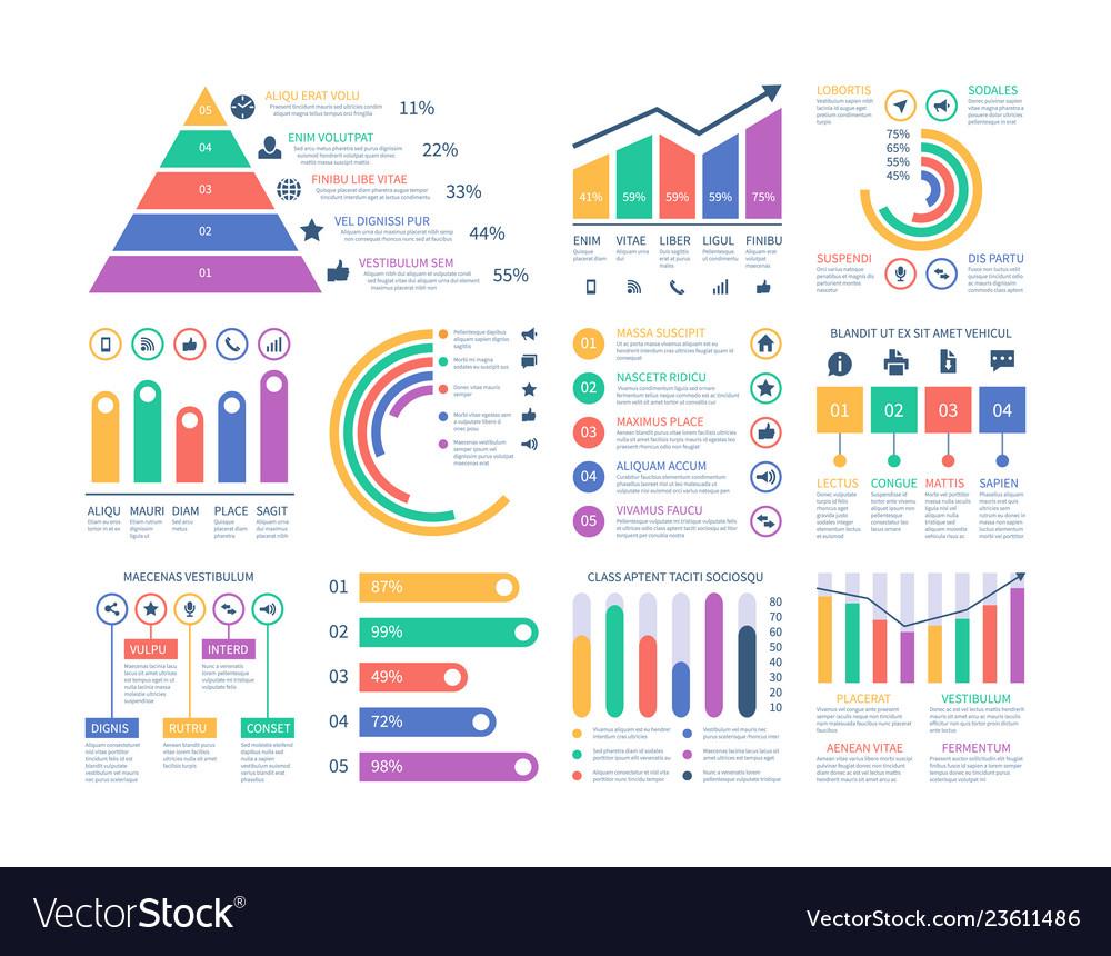 Analytics infographics elements data graphic