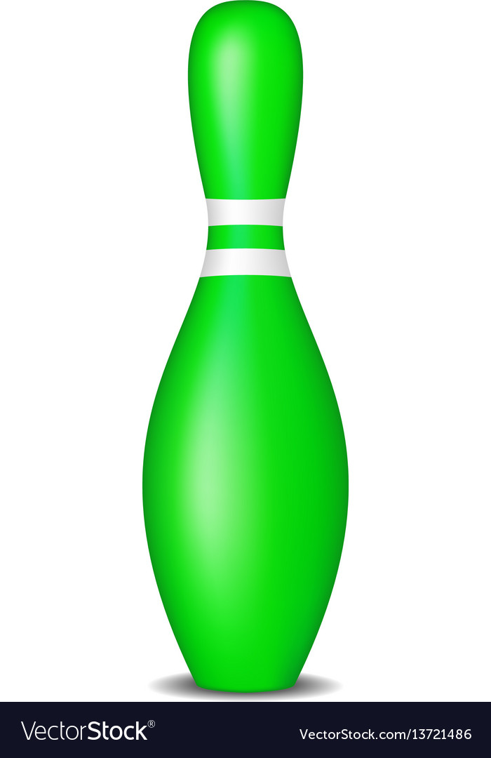 Bowling pin in green design with white stripes