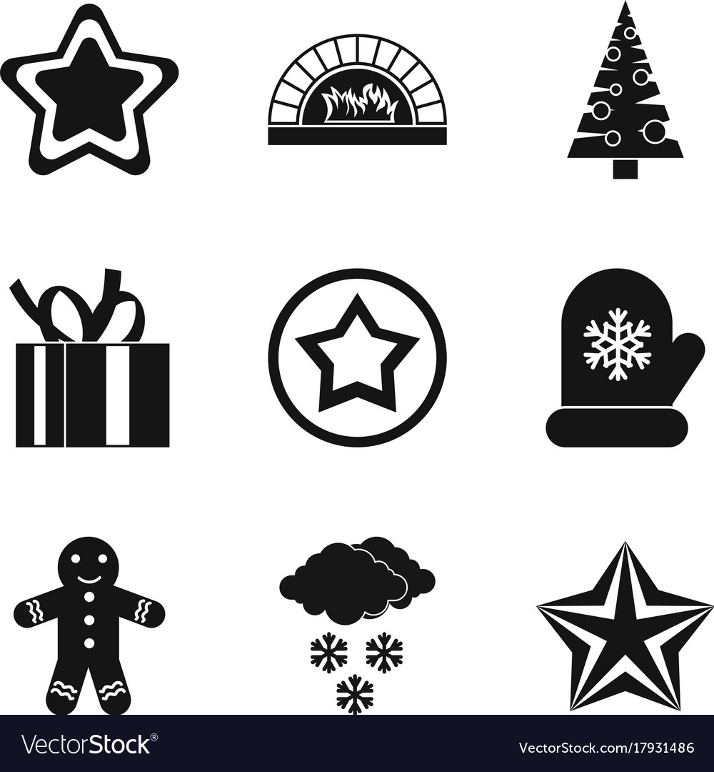 Christmas symbol icons set simple style