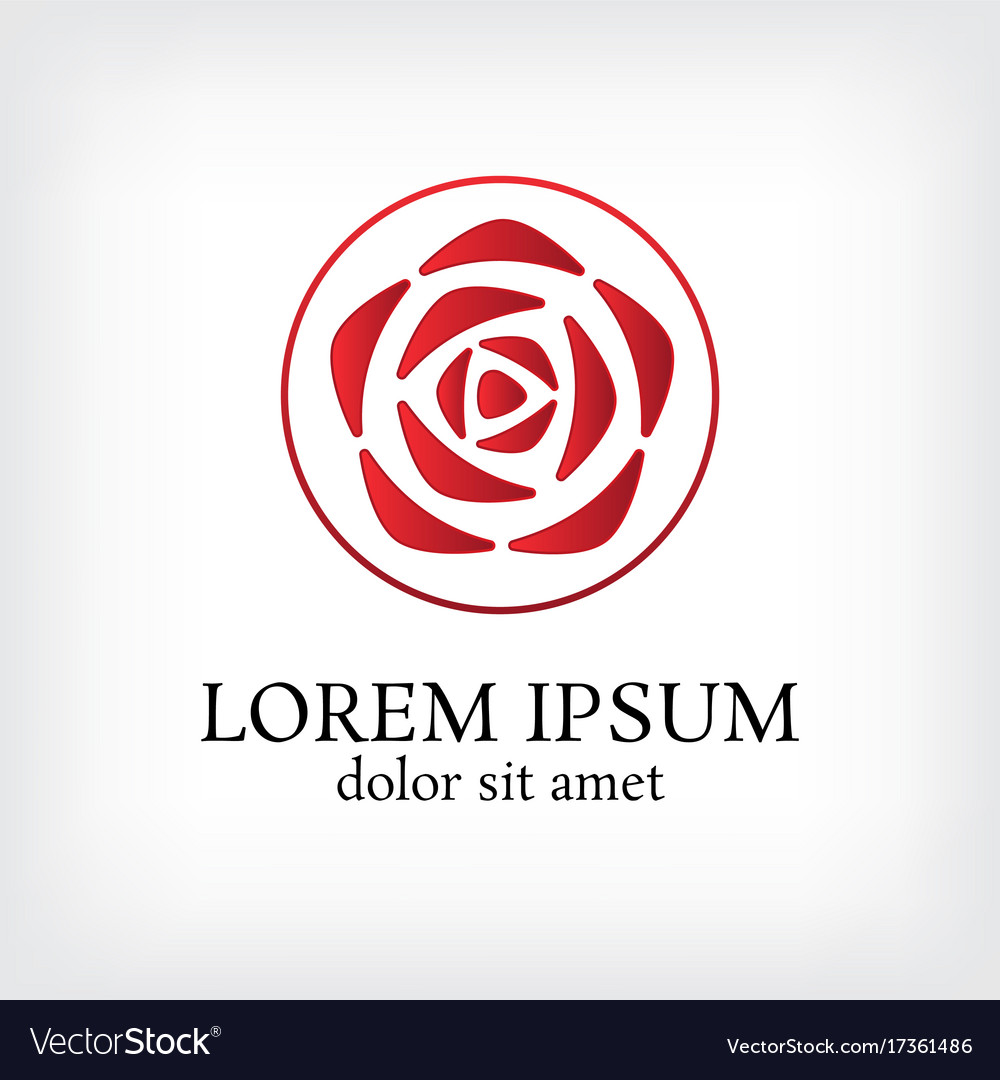 Circle with rose logo vector image