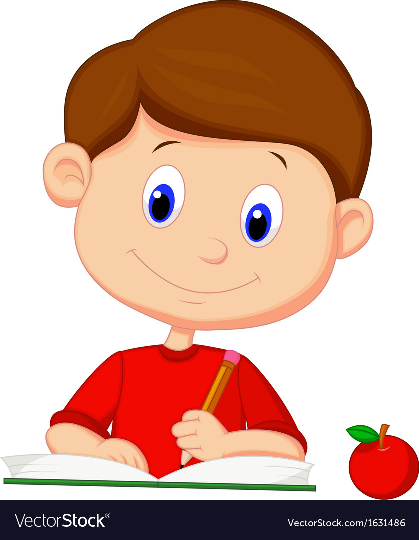 Cute boy cartoon writing on a book
