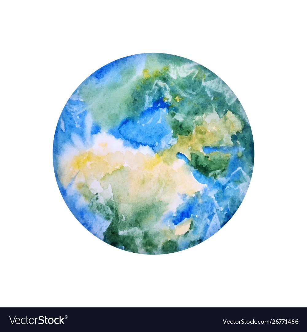Earth hand drawn globe watercolor texture world
