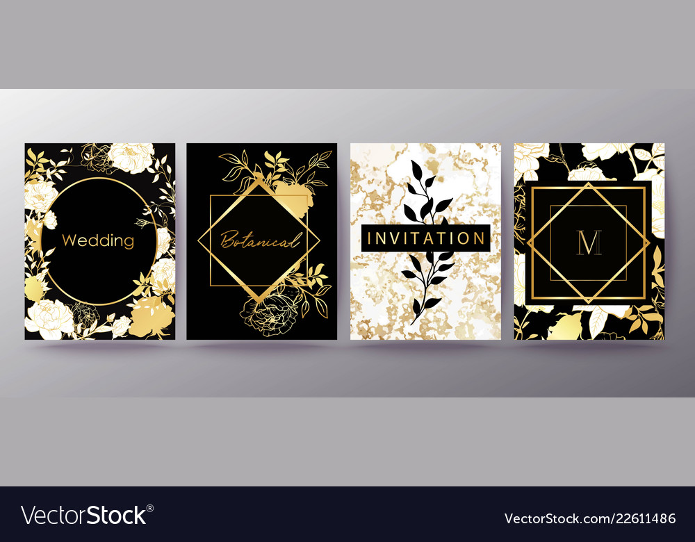 Floral frame design wedding invitation