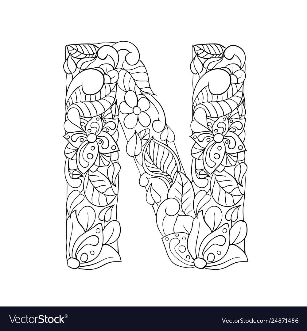 Floral n letter contour