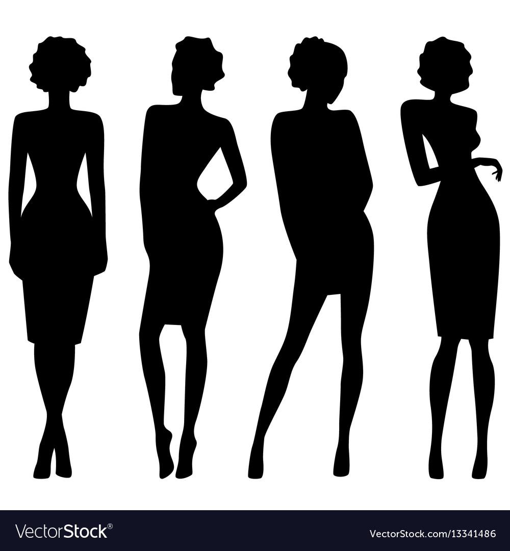 Four slim attractive women silhouettes