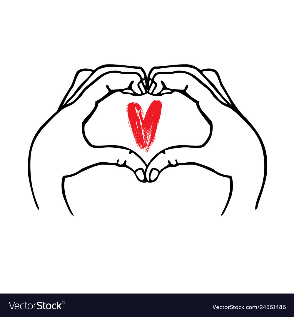 Hands make heart symbol